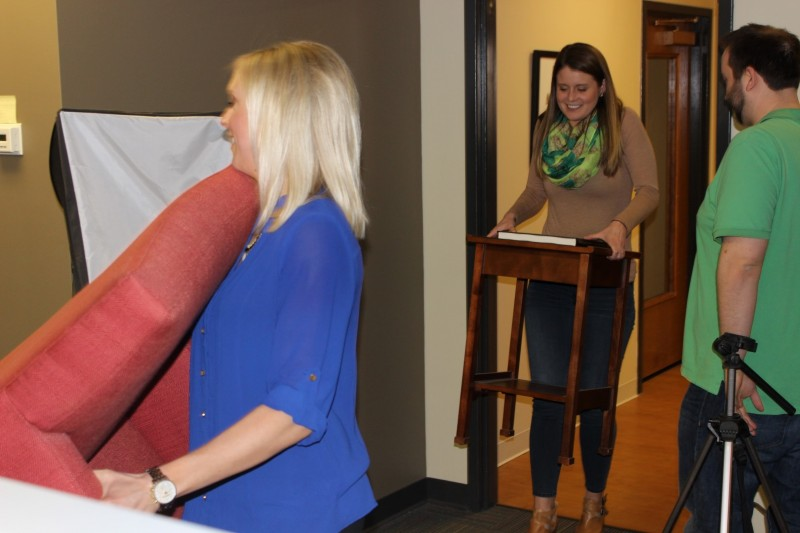 Christa and Anna moving furniture