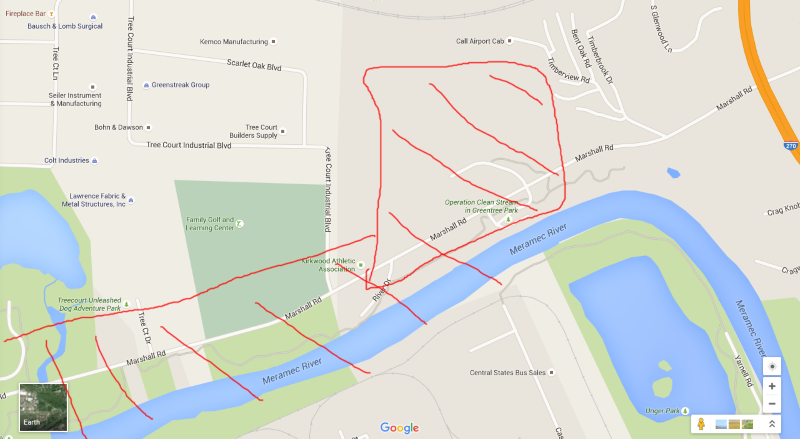Red area is the main flooded area I paddled.